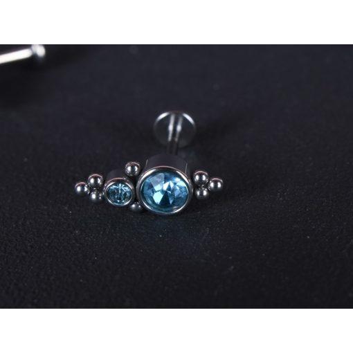 Fül piercing, trió pötty kék színű két méretben