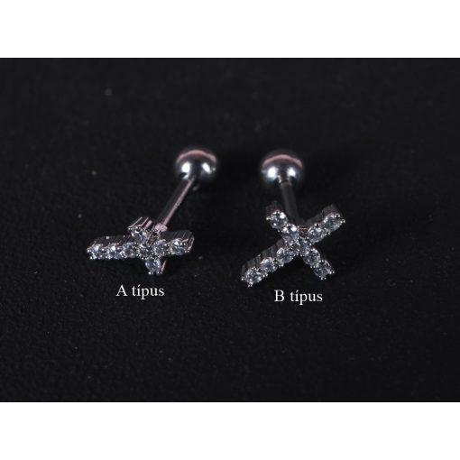 Fül piercing, köves kereszt, 2 típusban, ezüst színben