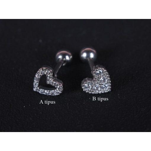 Fül piercing, szivek, 2 típusban, ezüst színben