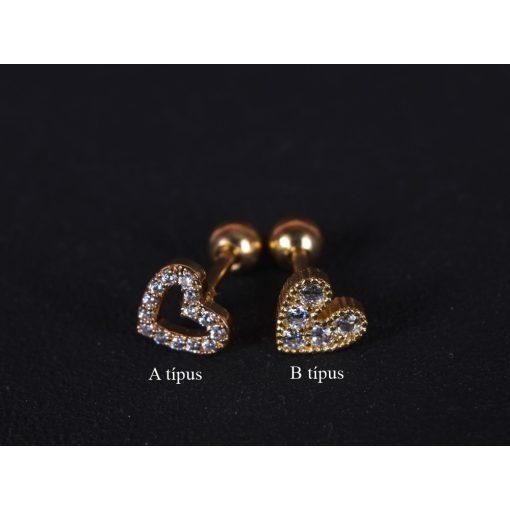 Fül piercing, szivek, 2 típusban, arany színben