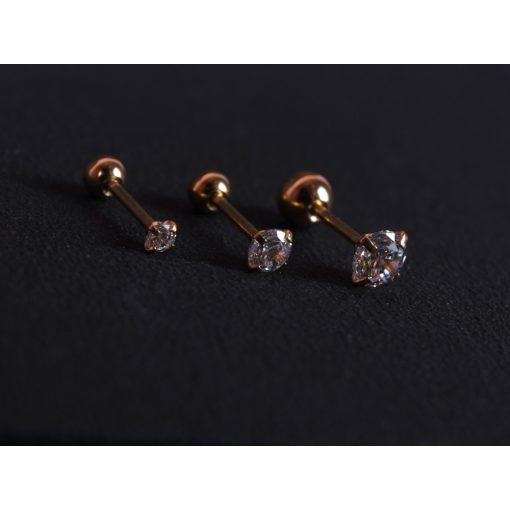 Piercing, nagy köves gömb véggel, arany szín, ezüst kővel