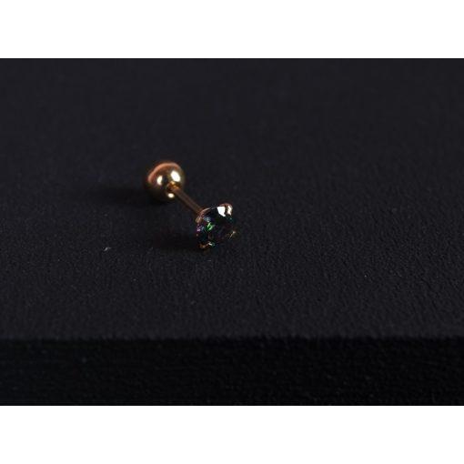 Piercing, nagy köves gömb véggel, arany szín, lila kővel