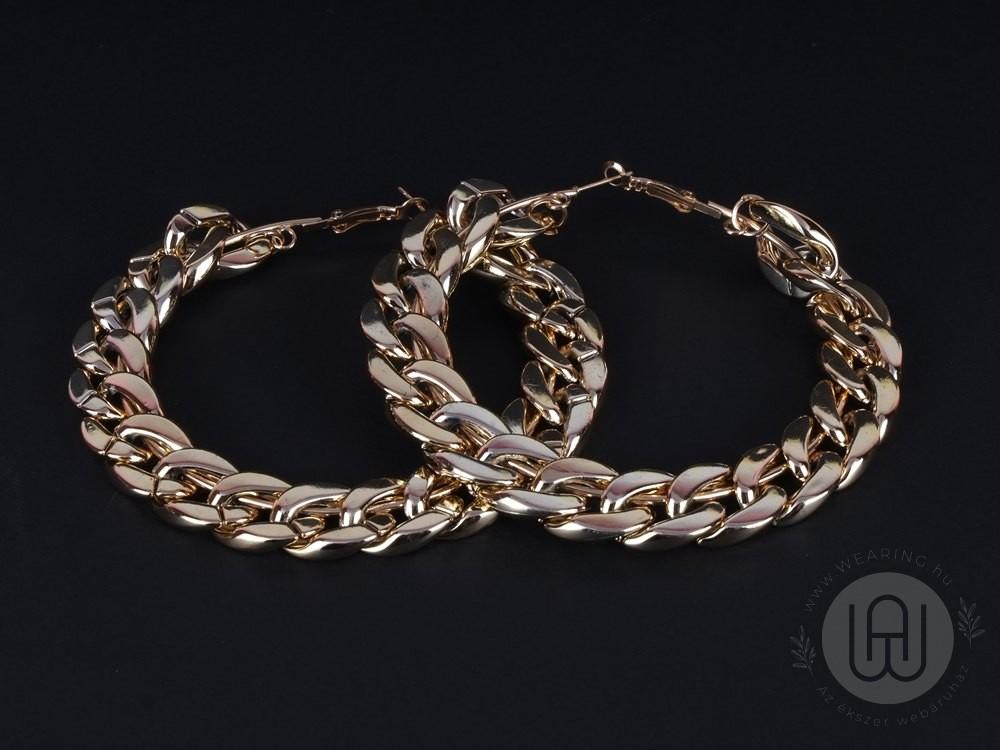 Fülbevaló arany színű oversize lánc karika